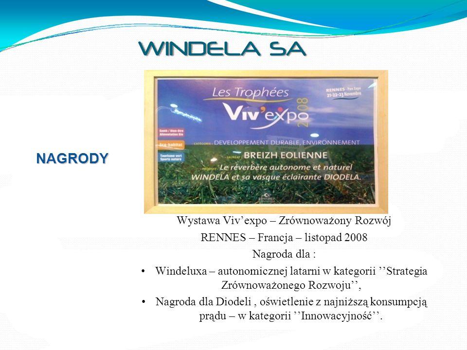 NAGRODY Wystawa Viv'expo – Zrównoważony Rozwój RENNES – Francja – listopad 2008 Nagroda dla : Windeluxa – autonomicznej latarni w kategorii ''Strategi