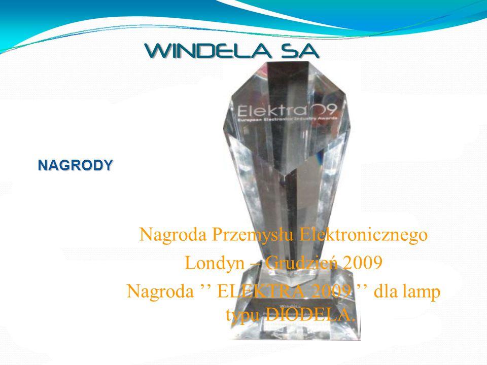 NAGRODY Nagroda Przemysłu Elektronicznego Londyn – Grudzień 2009 Nagroda '' ELEKTRA 2009 '' dla lamp typu DIODELA.