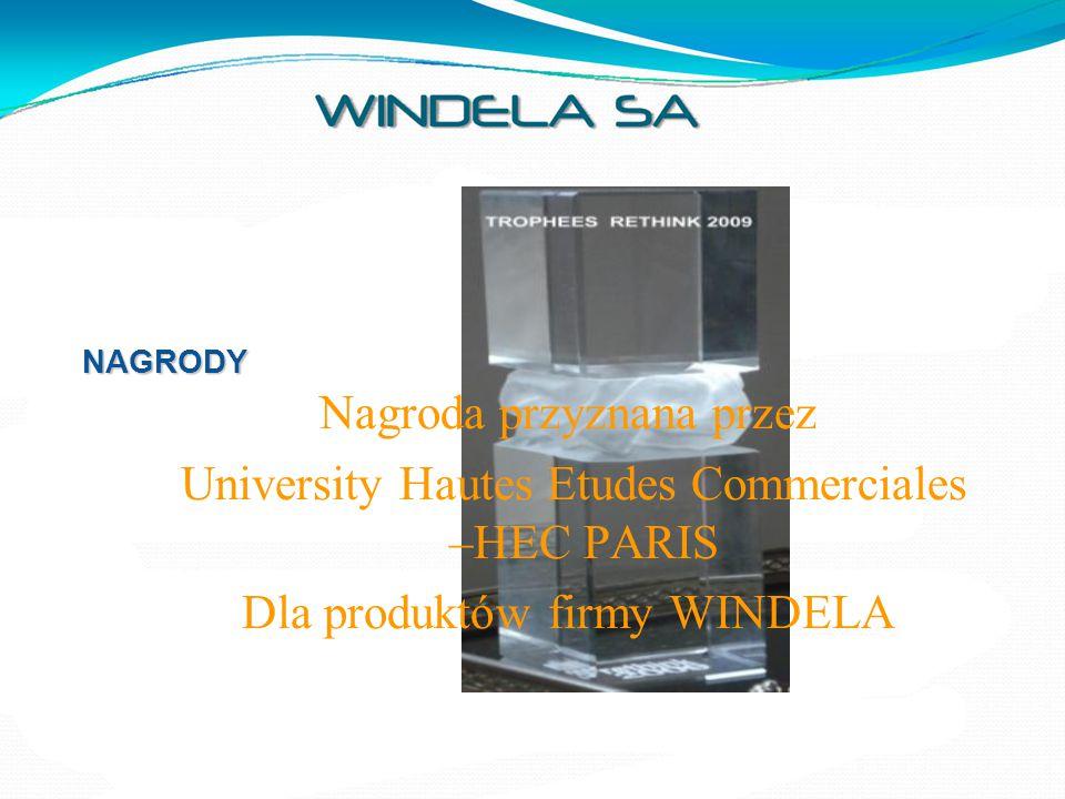 NAGRODY Nagroda przyznana przez University Hautes Etudes Commerciales –HEC PARIS Dla produktów firmy WINDELA