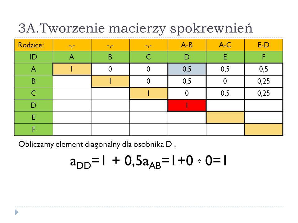 3A.Tworzenie macierzy spokrewnień Rodzice:-,- A-BA-CE-D IDABCDEF A1000,5 B10 00,25 C100,50,25 D1 E F Obliczamy element diagonalny dla osobnika D. a DD