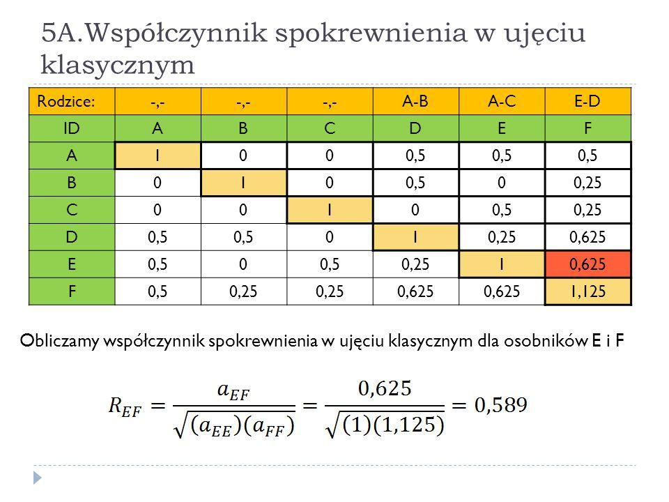 5A.Współczynnik spokrewnienia w ujęciu klasycznym Obliczamy współczynnik spokrewnienia w ujęciu klasycznym dla osobników E i F Rodzice:-,- A-BA-CE-D I