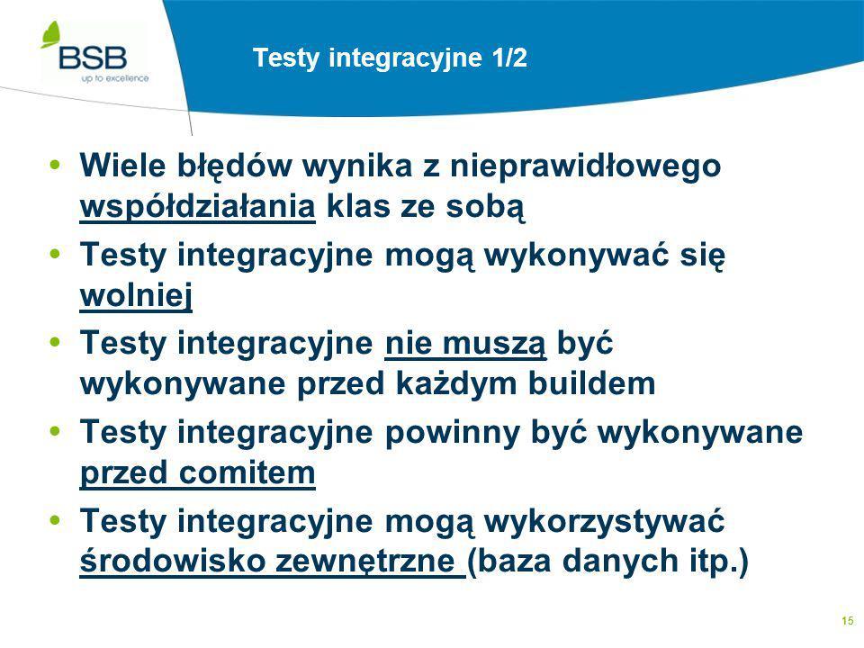15 Testy Integracyjne - założenia  Wiele błędów wynika z nieprawidłowego współdziałania klas ze sobą  Testy integracyjne mogą wykonywać się wolniej