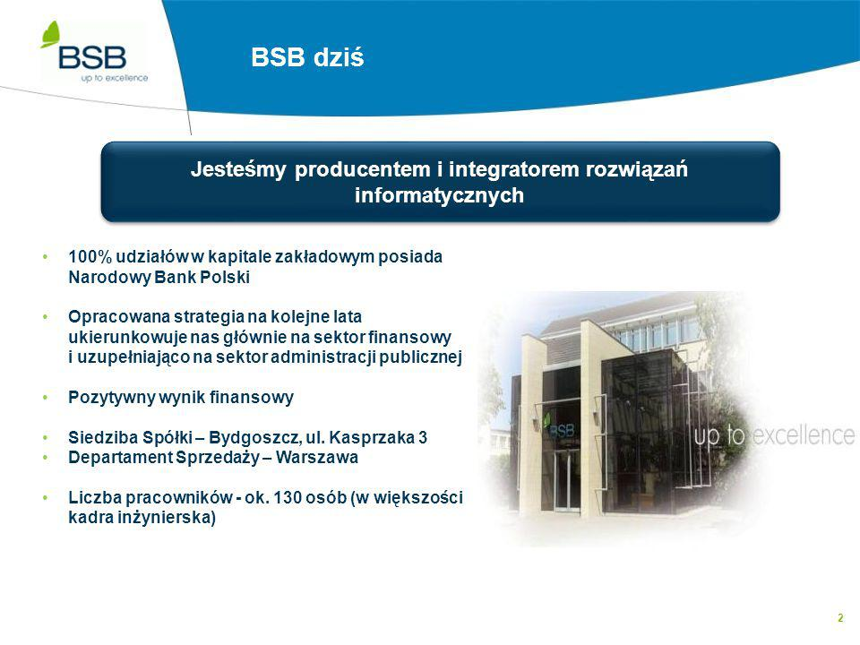 2 BSB dziś Jesteśmy producentem i integratorem rozwiązań informatycznych 100% udziałów w kapitale zakładowym posiada Narodowy Bank Polski Opracowana s