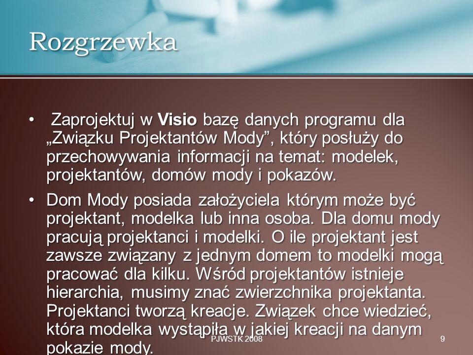 """Zaprojektuj w Visio bazę danych programu dla """"Związku Projektantów Mody"""", który posłuży do przechowywania informacji na temat: modelek, projektantów,"""