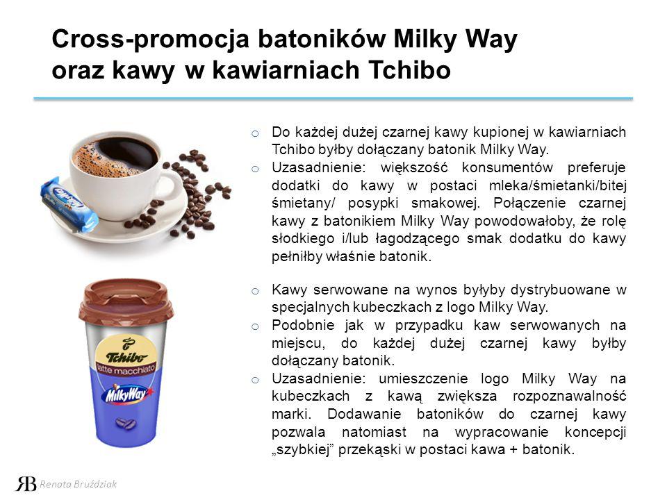 Cross-promocja batoników Milky Way oraz kawyw kawiarniach Tchibo o Do każdej dużej czarnej kawy kupionej w kawiarniach Tchibo byłby dołączany batonik