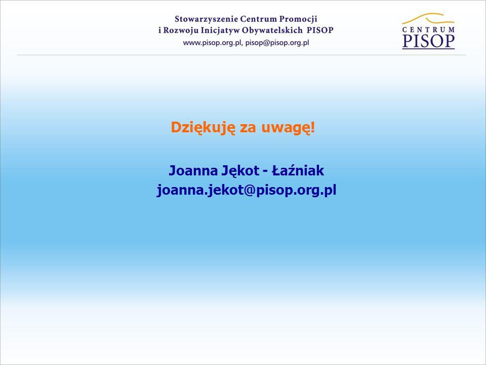 Dziękuję za uwagę! Joanna Jękot - Łaźniak joanna.jekot@pisop.org.pl