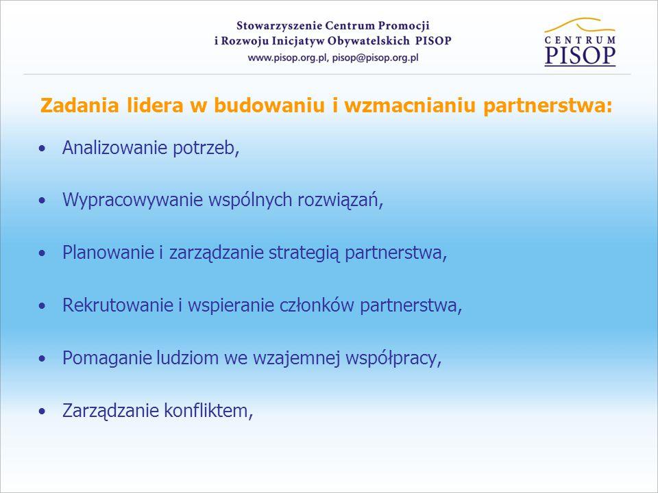 Zadania lidera w budowaniu i wzmacnianiu partnerstwa: Analizowanie potrzeb, Wypracowywanie wspólnych rozwiązań, Planowanie i zarządzanie strategią partnerstwa, Rekrutowanie i wspieranie członków partnerstwa, Pomaganie ludziom we wzajemnej współpracy, Zarządzanie konfliktem,