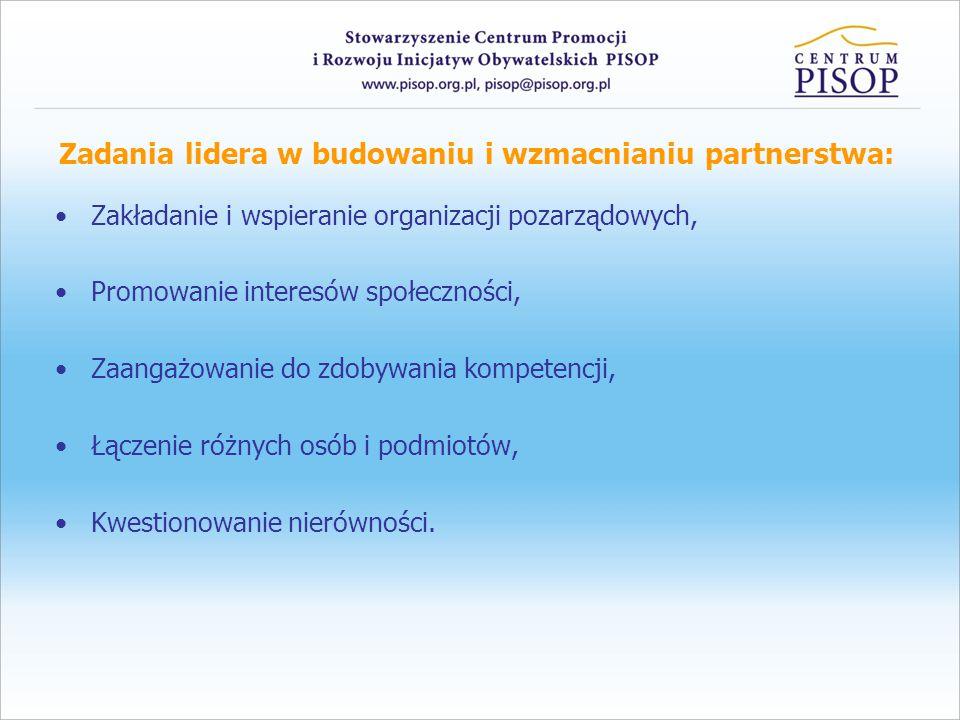 Zadania lidera w budowaniu i wzmacnianiu partnerstwa: Zakładanie i wspieranie organizacji pozarządowych, Promowanie interesów społeczności, Zaangażowanie do zdobywania kompetencji, Łączenie różnych osób i podmiotów, Kwestionowanie nierówności.