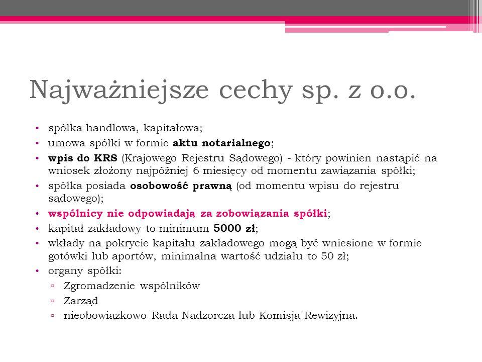 Najważniejsze cechy sp.z o.o.