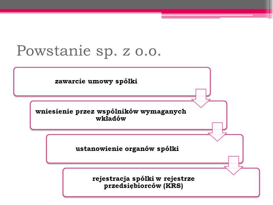 Powstanie sp.z o.o.