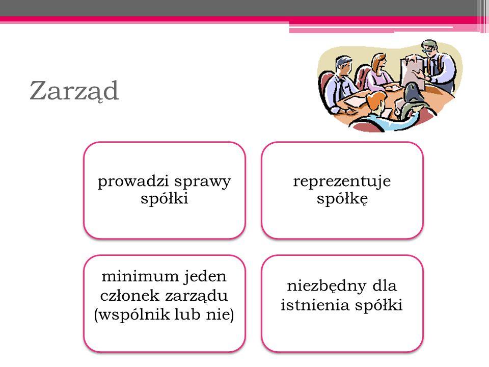 Zarząd prowadzi sprawy spółki reprezentuje spółkę minimum jeden członek zarządu (wspólnik lub nie) niezbędny dla istnienia spółki