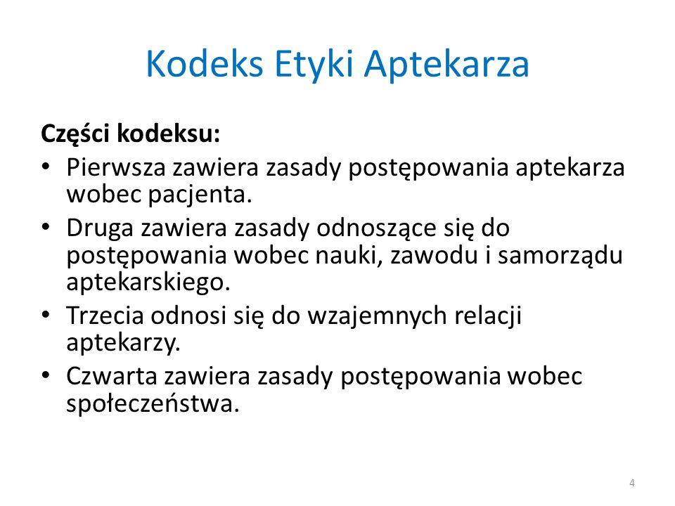 Kodeks Etyki Aptekarza Części kodeksu: Pierwsza zawiera zasady postępowania aptekarza wobec pacjenta.