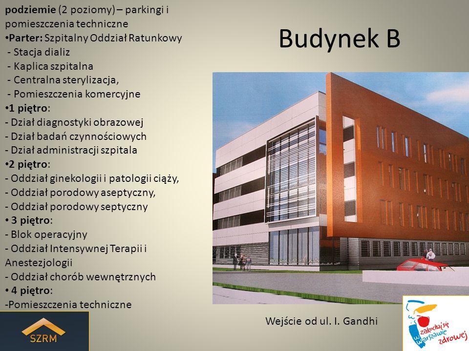 Budynek C podziemie (poziom -2) – parkingi i pomieszczenia techniczne podziemie (poziom -1) - Centralna szatnia personelu, - Depozyt ubrań dla pacjentów, - zaplecze magazynowe i techniczne, - Centralna stacja łóżek Parter: - Dział Patomorfologii, - Dział zaopatrzenia, - Bank krwi, - Apteka szpitalna 1 piętro: - Oddział psychiatryczny, - Dział diagnostyki endoskopowej 2 piętro: - Oddział dziecięcy, 3 piętro: - Oddział chorób wewnętrznych 4 piętro: -Pomieszczenia techniczne Widok Od strony budynku Instytutu Hematologii i Transfuzjologii