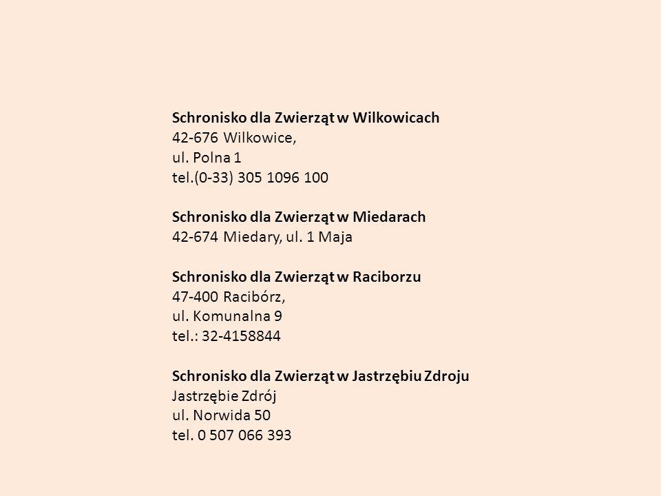 Schronisko dla Zwierząt w Wilkowicach 42-676 Wilkowice, ul. Polna 1 tel.(0-33) 305 1096 100 Schronisko dla Zwierząt w Miedarach 42-674 Miedary, ul. 1
