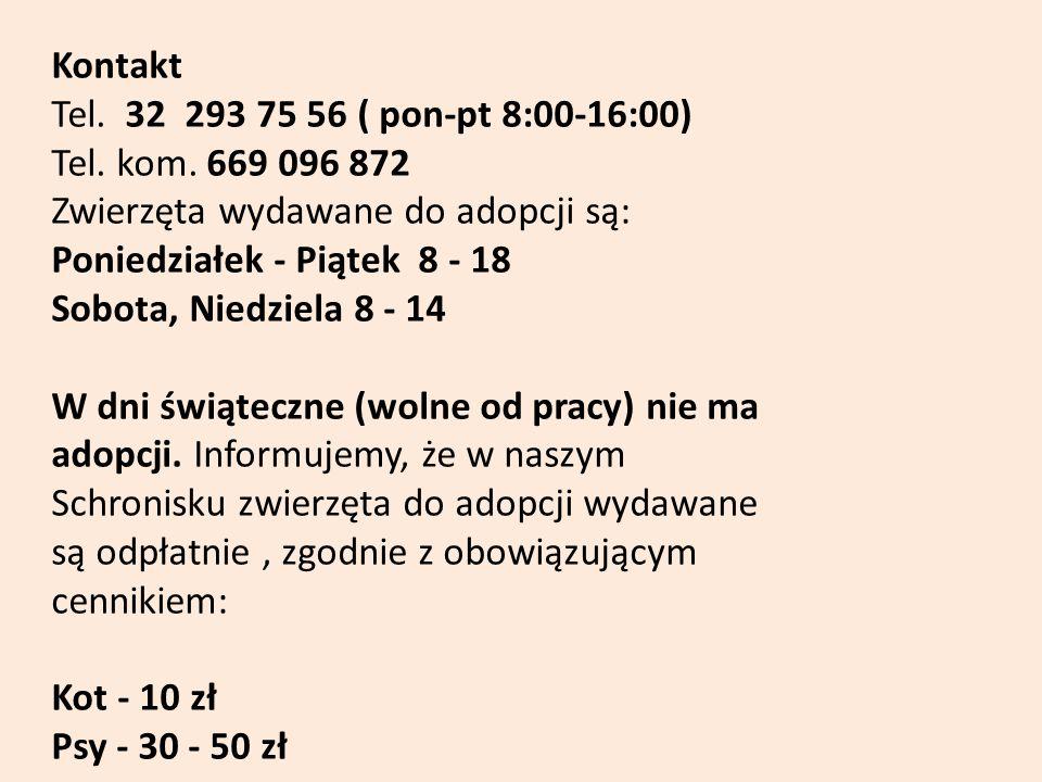 Kontakt Tel. 32 293 75 56 ( pon-pt 8:00-16:00) Tel. kom. 669 096 872 Zwierzęta wydawane do adopcji są: Poniedziałek - Piątek 8 - 18 Sobota, Niedziela