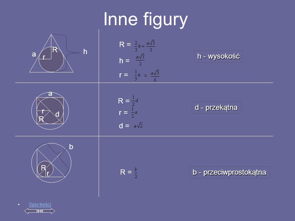 Inne figury R r h = = r = R = r R r = d = r R R = Spis treści h b b - przeciwprostokątna d a a d - przekątna h - wysokość