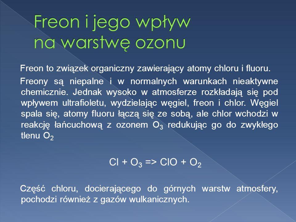 Freon to związek organiczny zawierający atomy chloru i fluoru.