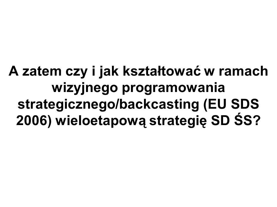 A zatem czy i jak kształtować w ramach wizyjnego programowania strategicznego/backcasting (EU SDS 2006) wieloetapową strategię SD ŚS