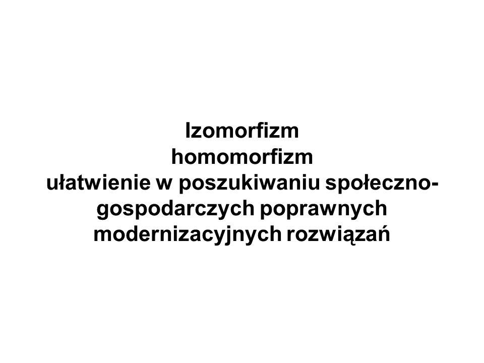Izomorfizm homomorfizm ułatwienie w poszukiwaniu społeczno- gospodarczych poprawnych modernizacyjnych rozwiązań