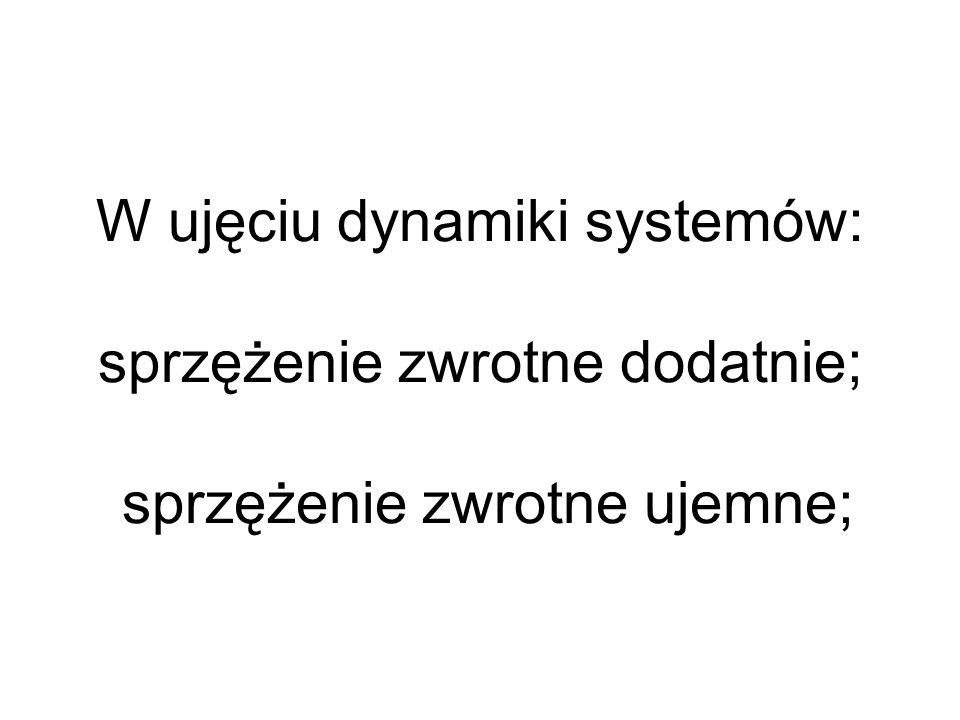 W ujęciu dynamiki systemów: sprzężenie zwrotne dodatnie; sprzężenie zwrotne ujemne;
