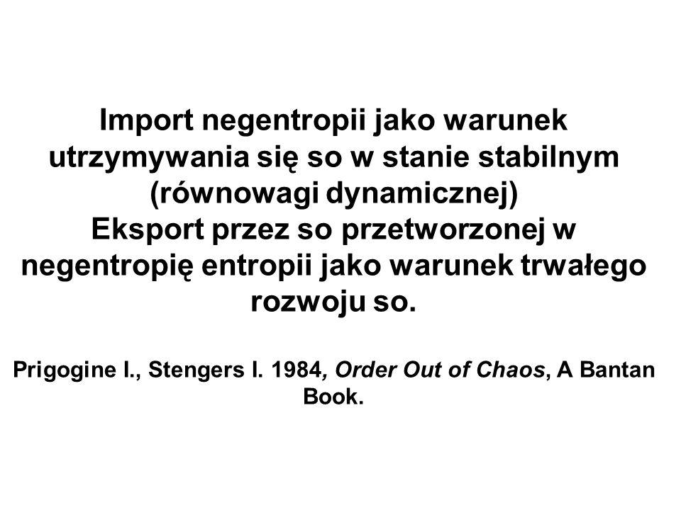 Import negentropii jako warunek utrzymywania się so w stanie stabilnym (równowagi dynamicznej) Eksport przez so przetworzonej w negentropię entropii jako warunek trwałego rozwoju so.