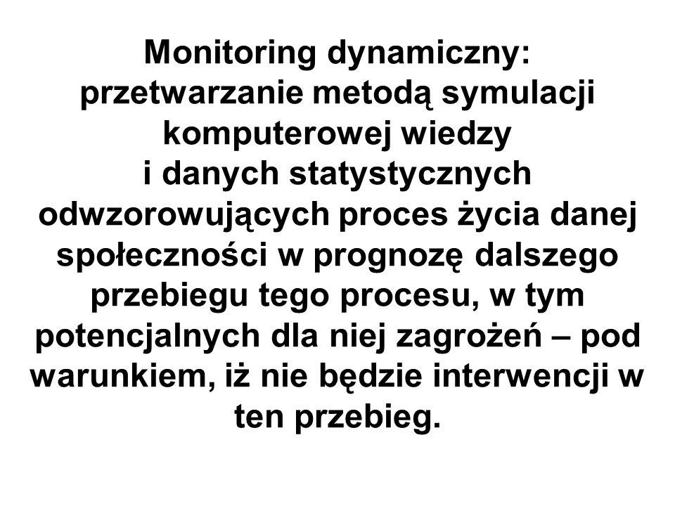 Monitoring dynamiczny: przetwarzanie metodą symulacji komputerowej wiedzy i danych statystycznych odwzorowujących proces życia danej społeczności w prognozę dalszego przebiegu tego procesu, w tym potencjalnych dla niej zagrożeń – pod warunkiem, iż nie będzie interwencji w ten przebieg.