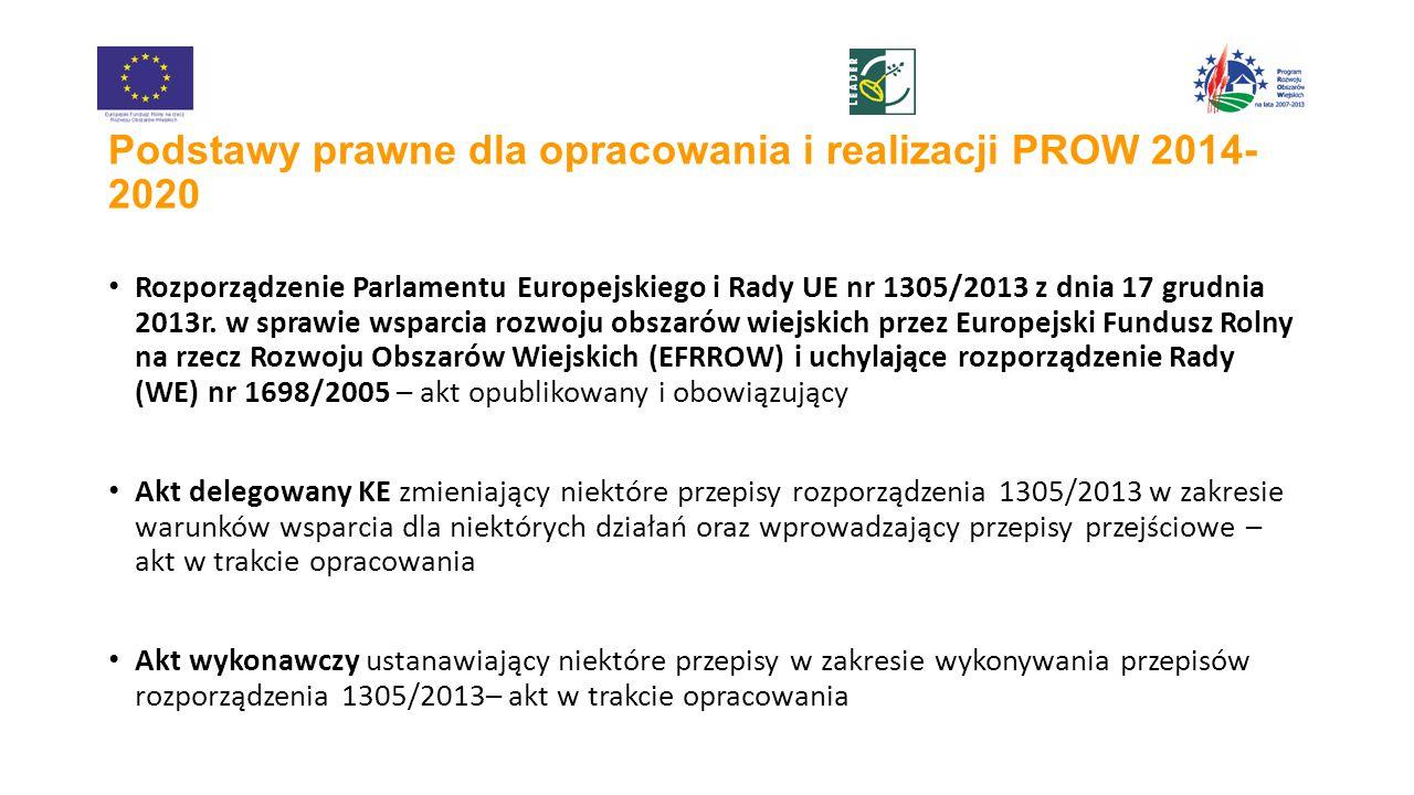 Podstawy prawne dla opracowania i realizacji PROW 2014- 2020 Rozporządzenie Parlamentu Europejskiego i Rady UE nr 1305/2013 z dnia 17 grudnia 2013r.