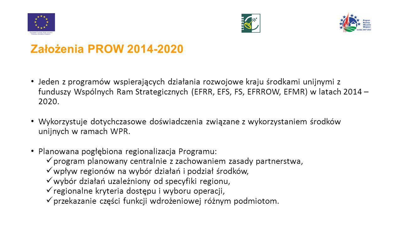 Założenia PROW 2014-2020 Jeden z programów wspierających działania rozwojowe kraju środkami unijnymi z funduszy Wspólnych Ram Strategicznych (EFRR, EFS, FS, EFRROW, EFMR) w latach 2014 – 2020.