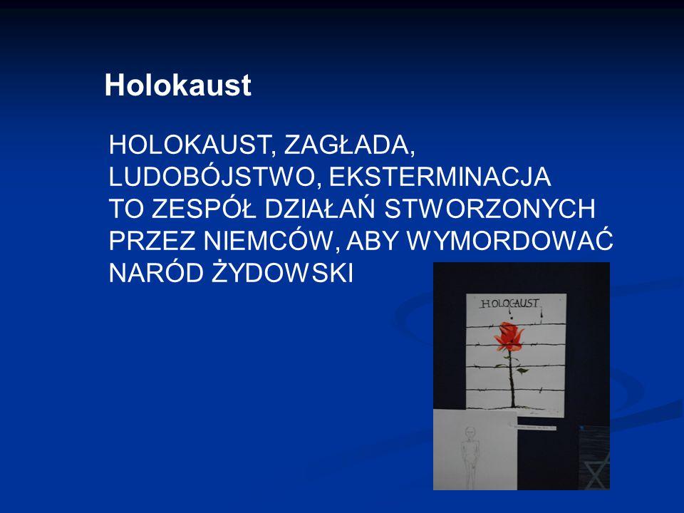 Holokaust HOLOKAUST, ZAGŁADA, LUDOBÓJSTWO, EKSTERMINACJA TO ZESPÓŁ DZIAŁAŃ STWORZONYCH PRZEZ NIEMCÓW, ABY WYMORDOWAĆ NARÓD ŻYDOWSKI