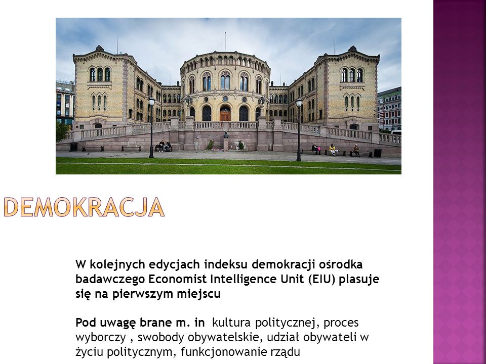 W kolejnych edycjach indeksu demokracji ośrodka badawczego Economist Intelligence Unit (EIU) plasuje się na pierwszym miejscu Pod uwagę brane m. in ku