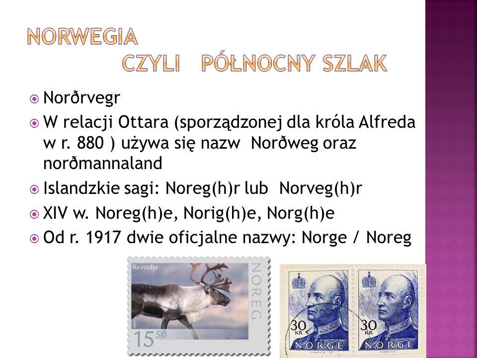  Norðrvegr  W relacji Ottara (sporządzonej dla króla Alfreda w r. 880 ) używa się nazw Norðweg oraz norðmannaland  Islandzkie sagi: Noreg(h)r lub N