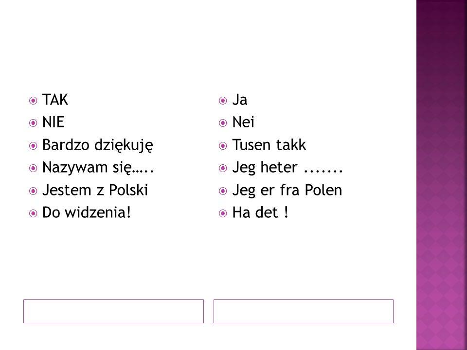  TAK  NIE  Bardzo dziękuję  Nazywam się…..  Jestem z Polski  Do widzenia!  Ja  Nei  Tusen takk  Jeg heter.......  Jeg er fra Polen  Ha det