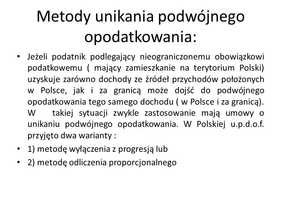 Metody unikania podwójnego opodatkowania: Jeżeli podatnik podlegający nieograniczonemu obowiązkowi podatkowemu ( mający zamieszkanie na terytorium Polski) uzyskuje zarówno dochody ze źródeł przychodów położonych w Polsce, jak i za granicą może dojść do podwójnego opodatkowania tego samego dochodu ( w Polsce i za granicą).