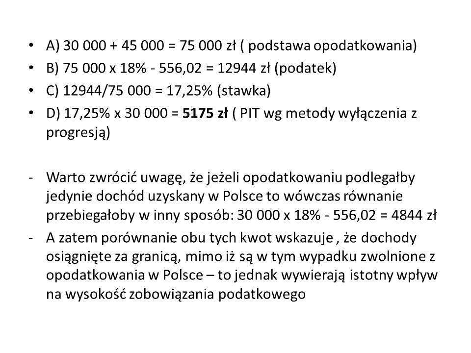 A) 30 000 + 45 000 = 75 000 zł ( podstawa opodatkowania) B) 75 000 x 18% - 556,02 = 12944 zł (podatek) C) 12944/75 000 = 17,25% (stawka) D) 17,25% x 30 000 = 5175 zł ( PIT wg metody wyłączenia z progresją) -Warto zwrócić uwagę, że jeżeli opodatkowaniu podlegałby jedynie dochód uzyskany w Polsce to wówczas równanie przebiegałoby w inny sposób: 30 000 x 18% - 556,02 = 4844 zł -A zatem porównanie obu tych kwot wskazuje, że dochody osiągnięte za granicą, mimo iż są w tym wypadku zwolnione z opodatkowania w Polsce – to jednak wywierają istotny wpływ na wysokość zobowiązania podatkowego