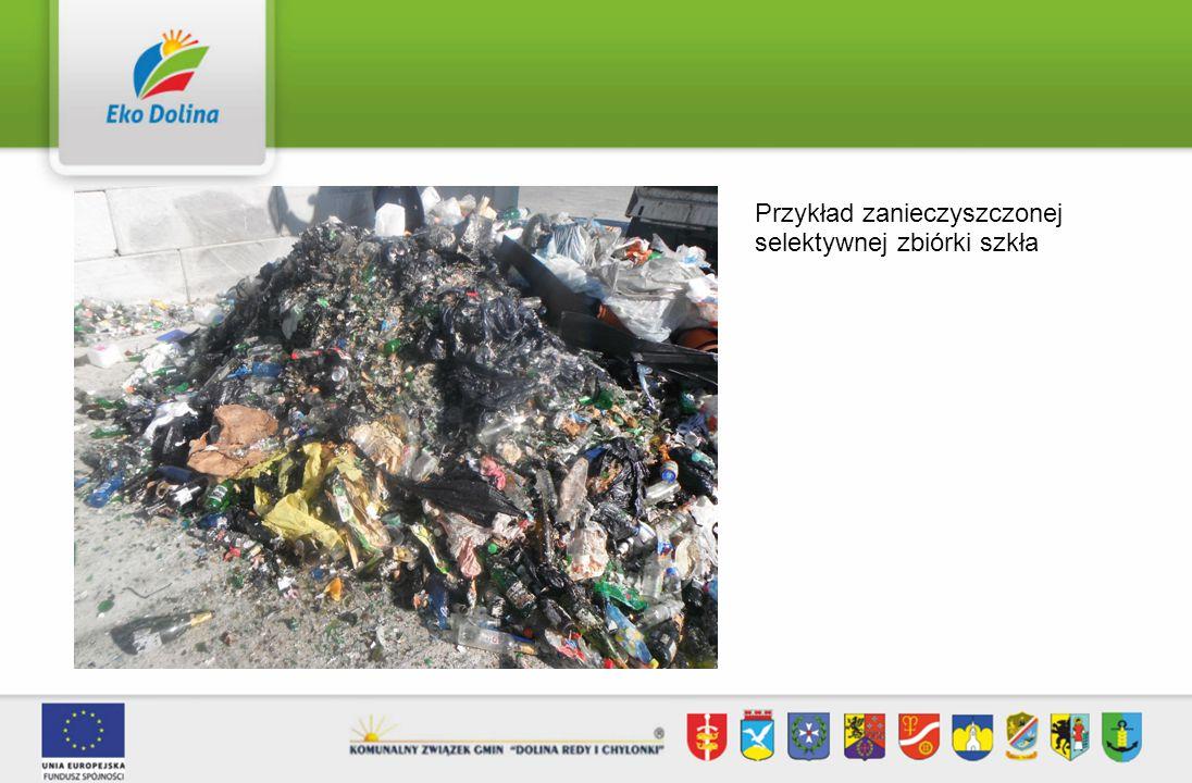 Przykład zanieczyszczonej selektywnej zbiórki szkła
