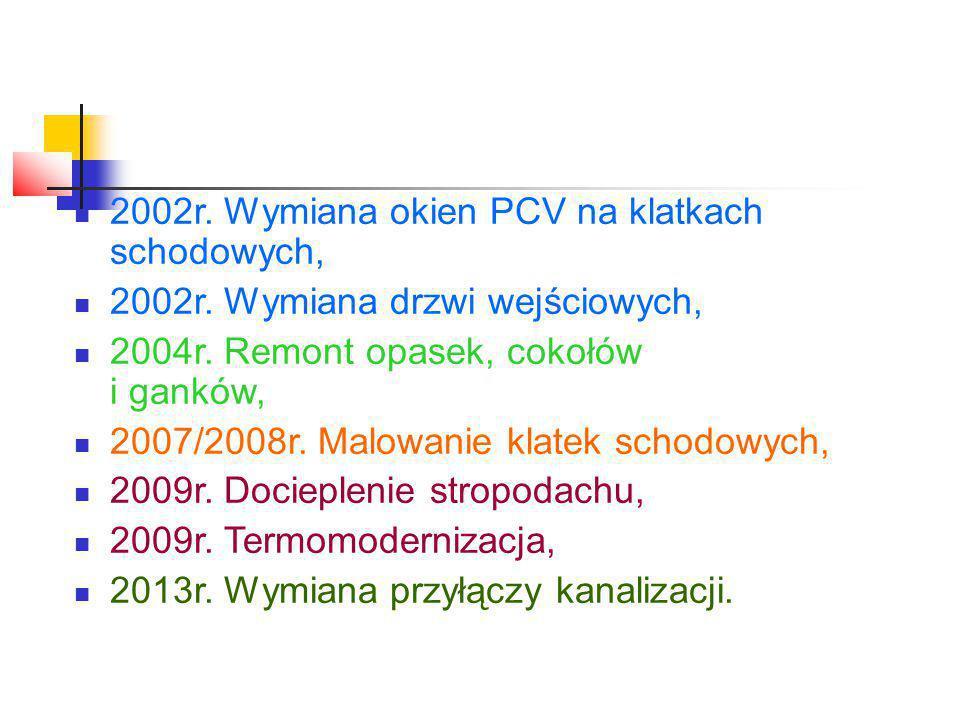 2002r. Wymiana okien PCV na klatkach schodowych, 2002r.