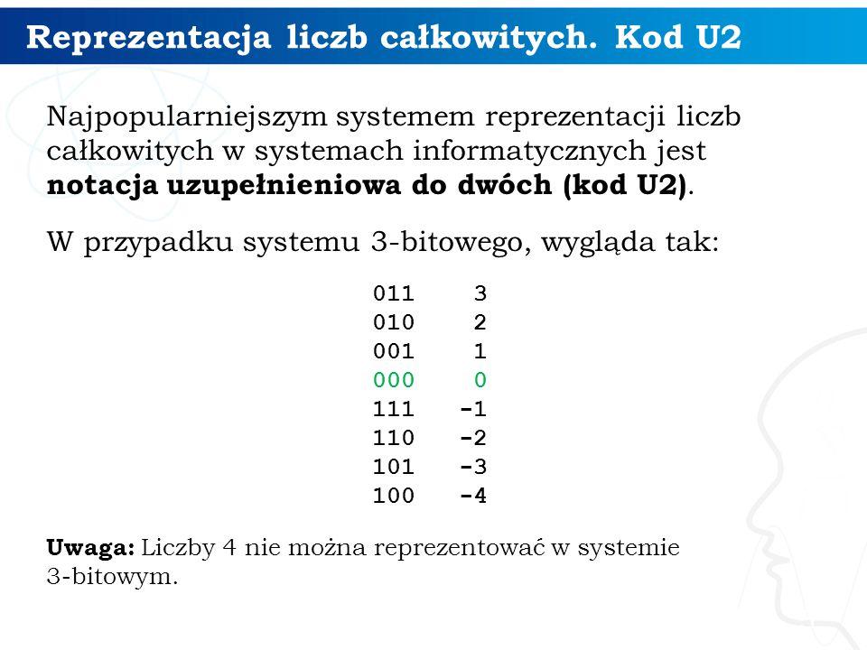 Reprezentacja liczb całkowitych. Kod U2 Najpopularniejszym systemem reprezentacji liczb całkowitych w systemach informatycznych jest notacja uzupełnie