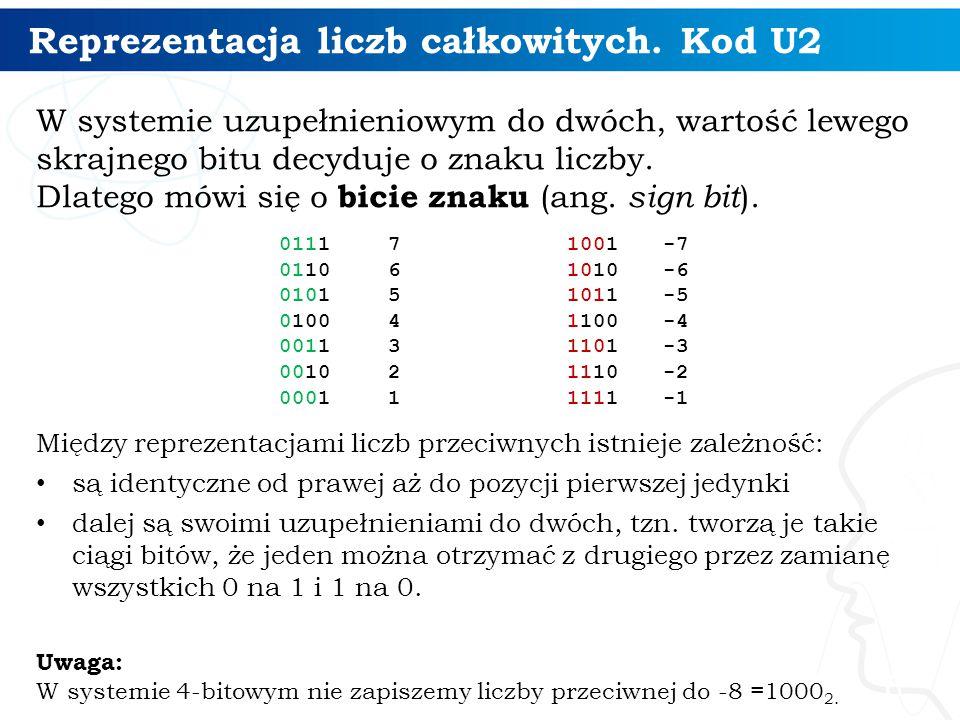 Reprezentacja liczb całkowitych. Kod U2 W systemie uzupełnieniowym do dwóch, wartość lewego skrajnego bitu decyduje o znaku liczby. Dlatego mówi się o
