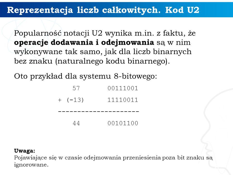 Reprezentacja liczb całkowitych. Kod U2 Popularność notacji U2 wynika m.in. z faktu, że operacje dodawania i odejmowania są w nim wykonywane tak samo,
