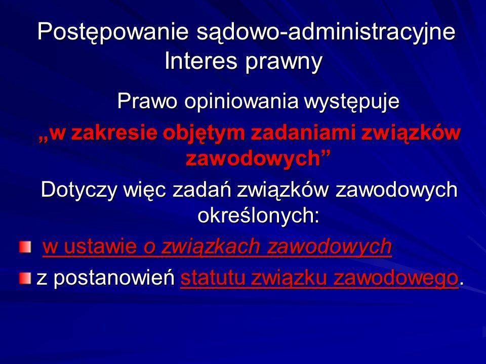 """Postępowanie sądowo-administracyjne Interes prawny Postępowanie sądowo-administracyjne Interes prawny Prawo opiniowania występuje """"w zakresie objętym"""