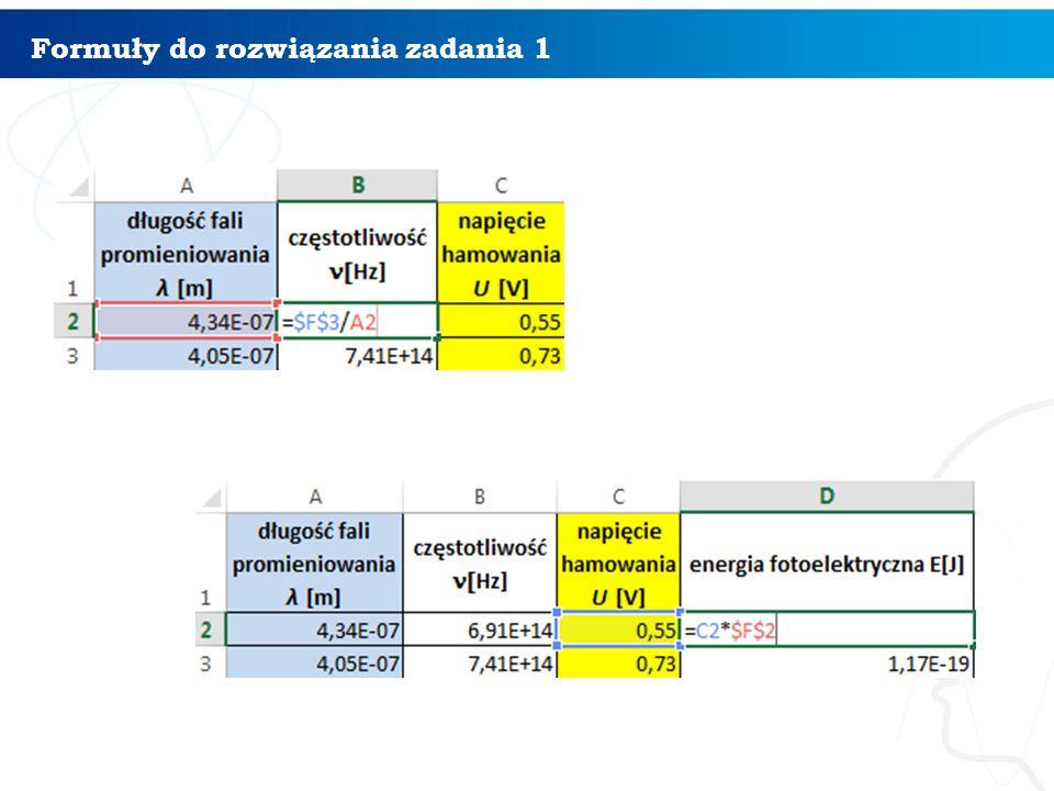 Formuły do rozwiązania zadania 1 10