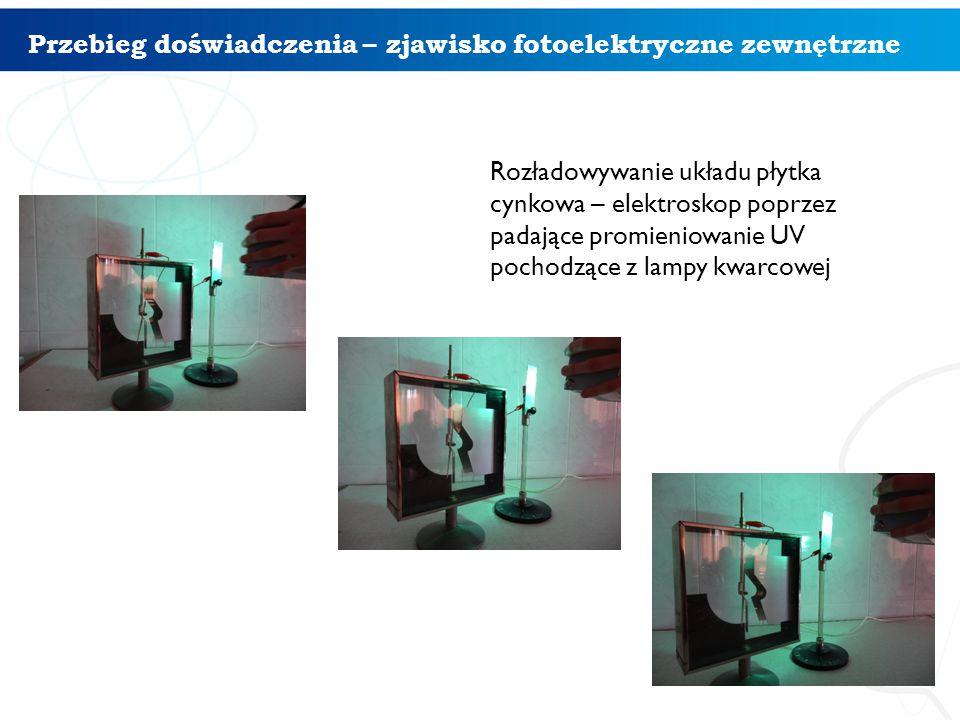 Przebieg doświadczenia – zjawisko fotoelektryczne zewnętrzne Rozładowywanie układu płytka cynkowa – elektroskop poprzez padające promieniowanie UV pochodzące z lampy kwarcowej 4