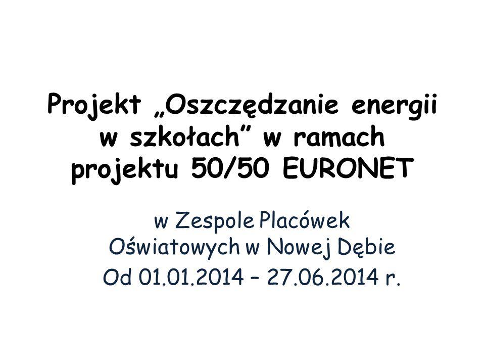 """Projekt """"Oszczędzanie energii w szkołach"""" w ramach projektu 50/50 EURONET w Zespole Placówek Oświatowych w Nowej Dębie Od 01.01.2014 – 27.06.2014 r."""