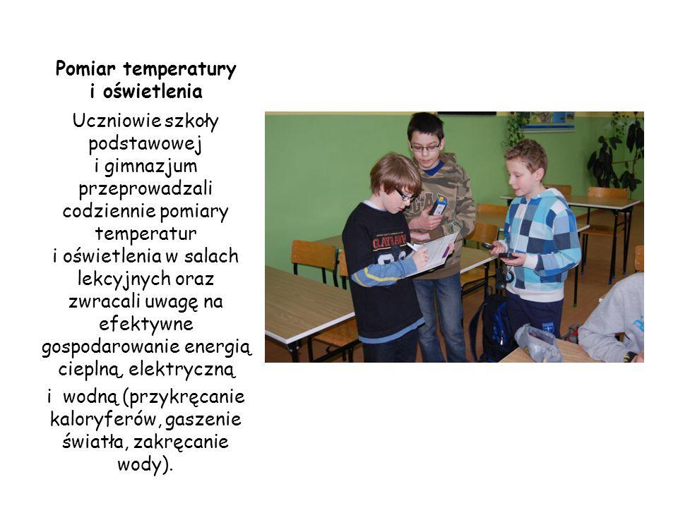 Pomiar temperatury i oświetlenia Uczniowie szkoły podstawowej i gimnazjum przeprowadzali codziennie pomiary temperatur i oświetlenia w salach lekcyjny