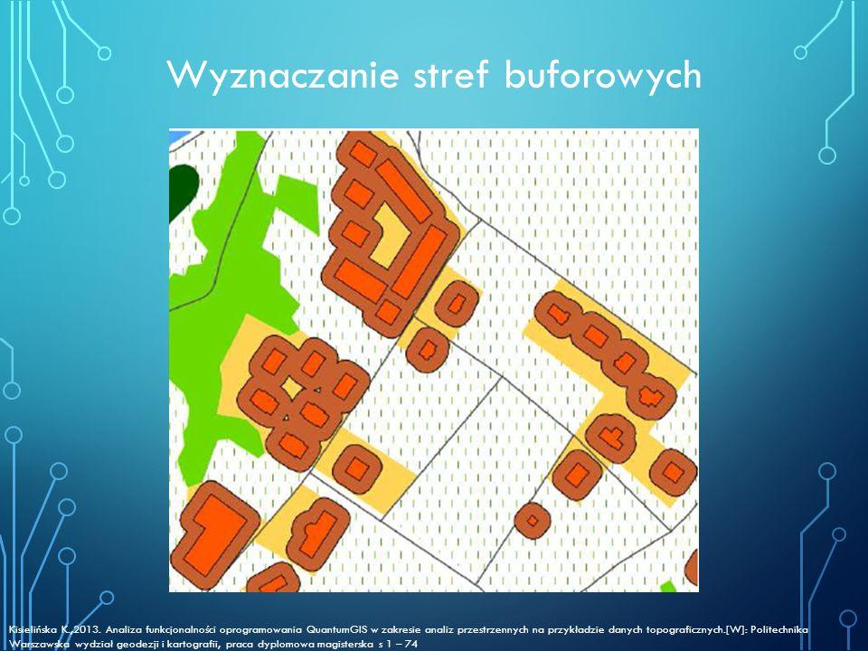 Wyznaczanie stref buforowych Kisielińska K.,2013. Analiza funkcjonalności oprogramowania QuantumGIS w zakresie analiz przestrzennych na przykładzie da