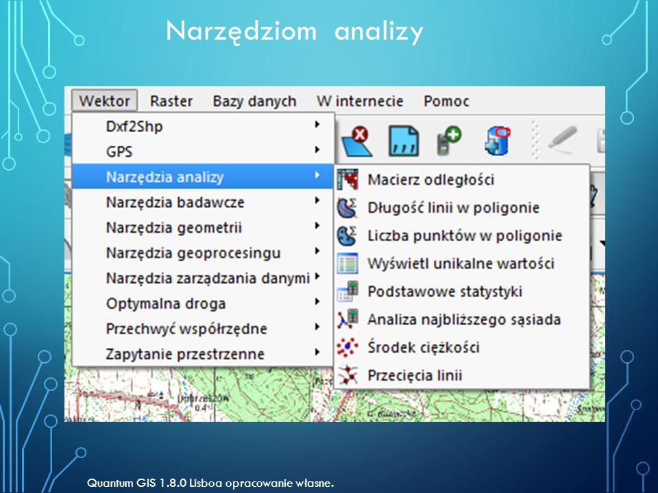 Narzędziom analizy Quantum GIS 1.8.0 Lisboa opracowanie własne.