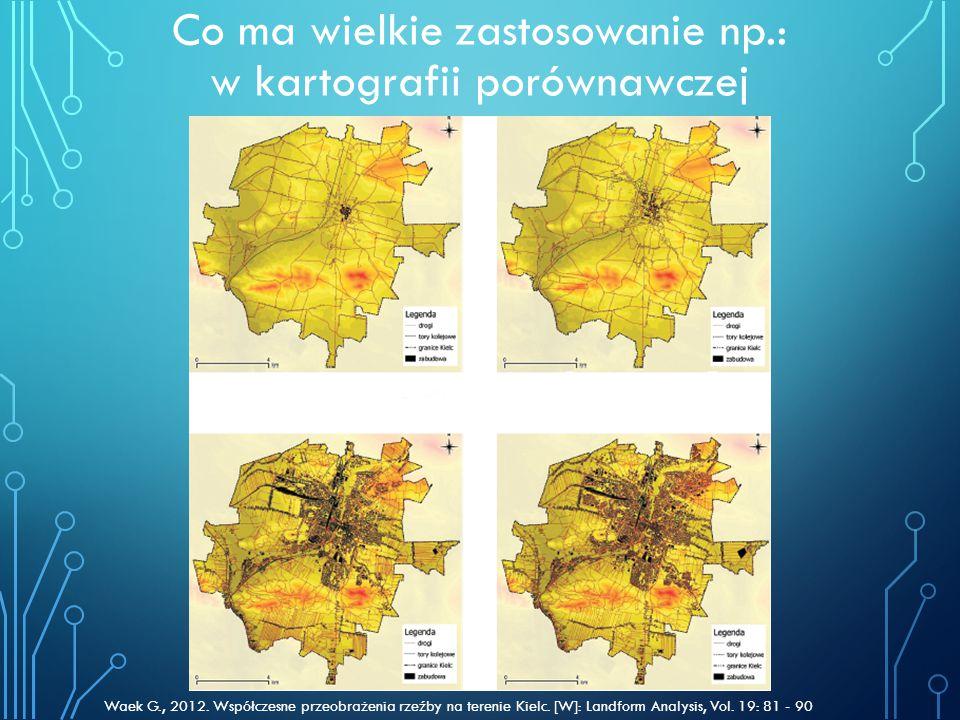 Co ma wielkie zastosowanie np.: w kartografii porównawczej Waek G., 2012. Współczesne przeobrażenia rzeźby na terenie Kielc. [W]: Landform Analysis, V