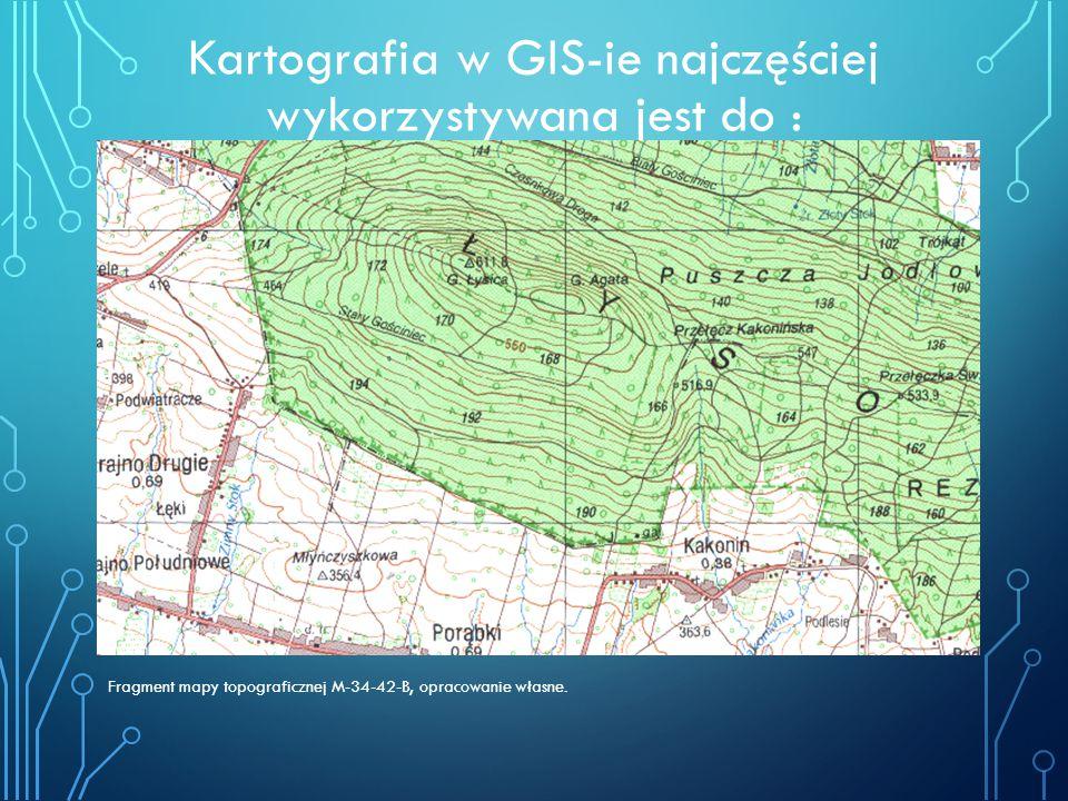 Kartografia w GIS-ie najczęściej wykorzystywana jest do : Fragment mapy topograficznej M-34-42-B, opracowanie własne.