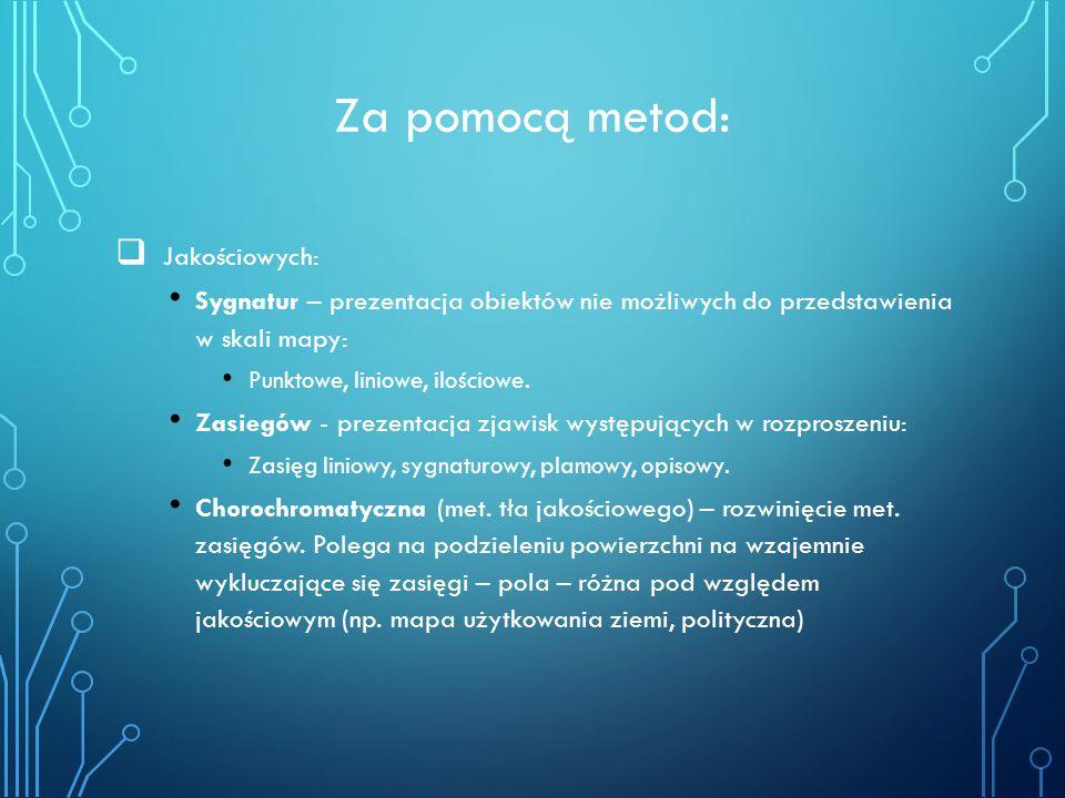 Za pomocą metod:  Jakościowych: Sygnatur – prezentacja obiektów nie możliwych do przedstawienia w skali mapy: Punktowe, liniowe, ilościowe. Zasiegów