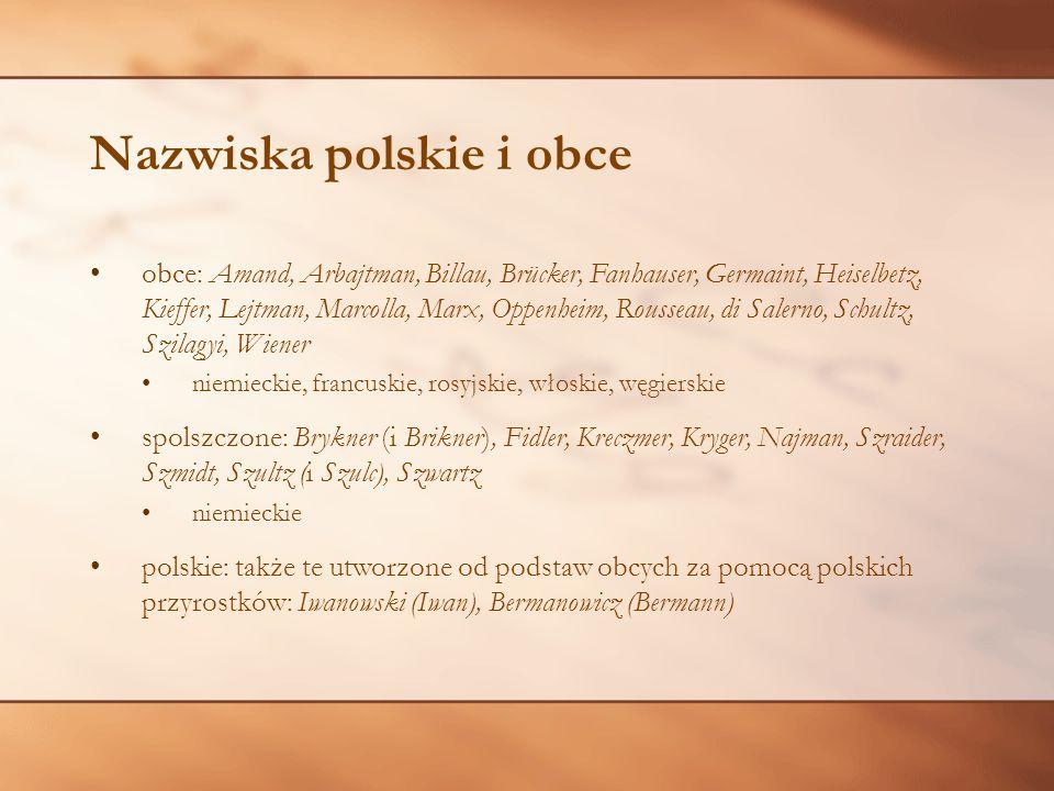 Nazwiska polskie i obce obce: Amand, Arbajtman, Billau, Brücker, Fanhauser, Germaint, Heiselbetz, Kieffer, Lejtman, Marcolla, Marx, Oppenheim, Roussea